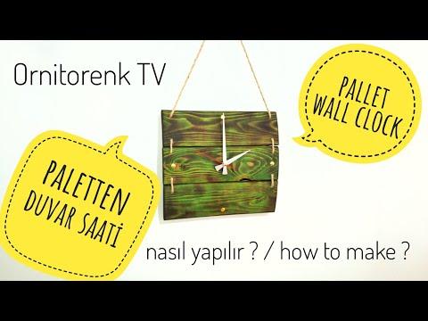 PALETTEN DUVAR SAATİ YAPIMI / DIY / PALLET WALL CLOCK