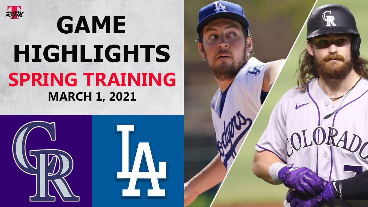 Colorado Rockies vs. Los Angeles Dodgers Highlights   March 1, 2021 (Spring Training)