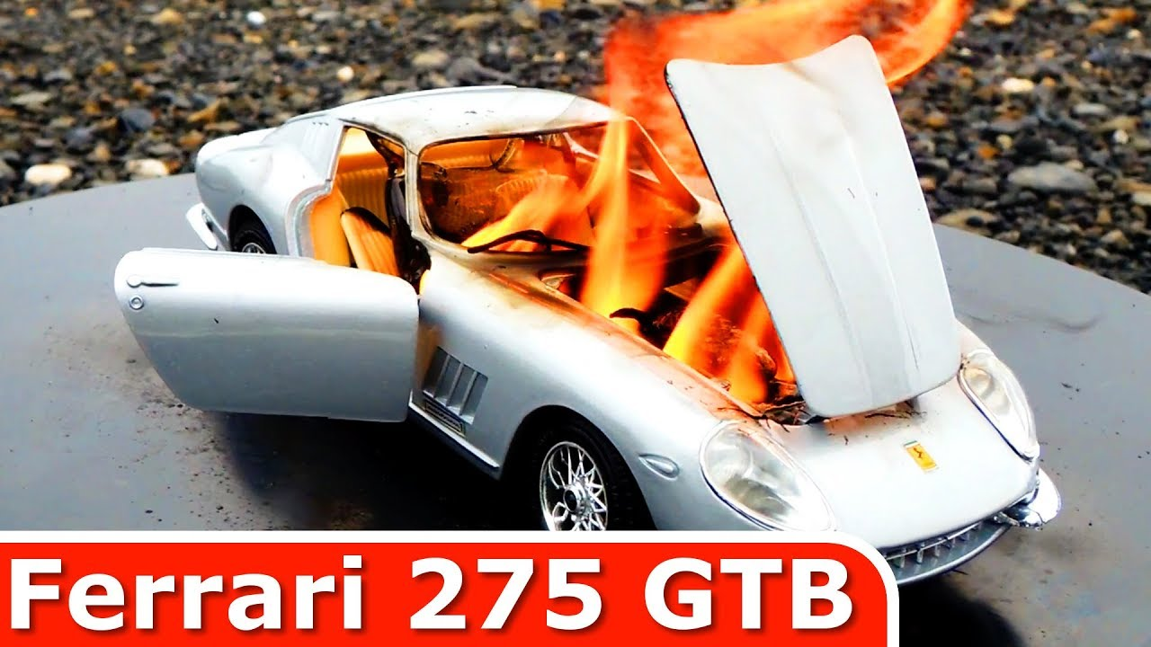 Burning My Ferrari 275 GTB - The Car Is On FIRE - Why? - Just a Model Toy  Car Burnout