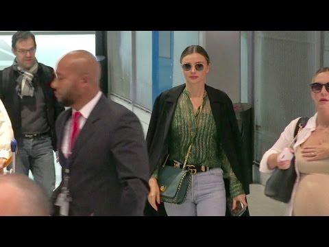 Model Miranda Kerr arrives in Paris for the Ready to Wear Fashion Week