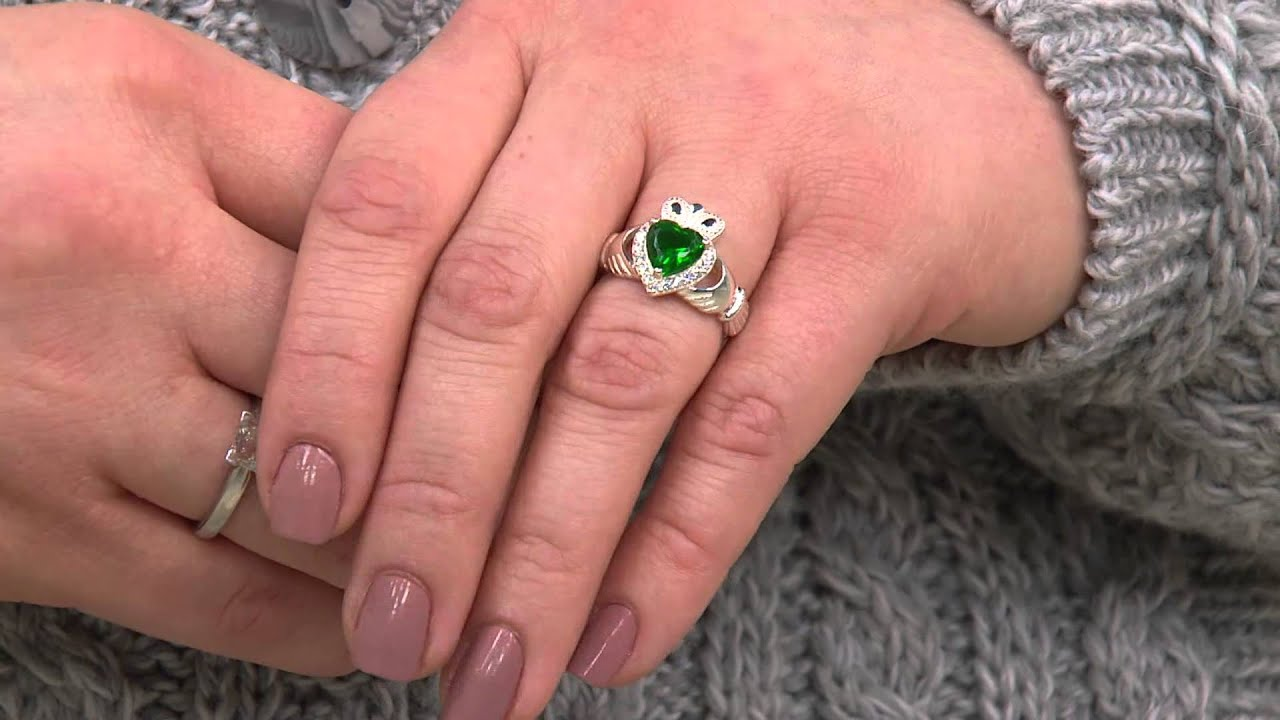 Solvar Sterling Silver & Green Crystal Claddagh Ring with Jane ...