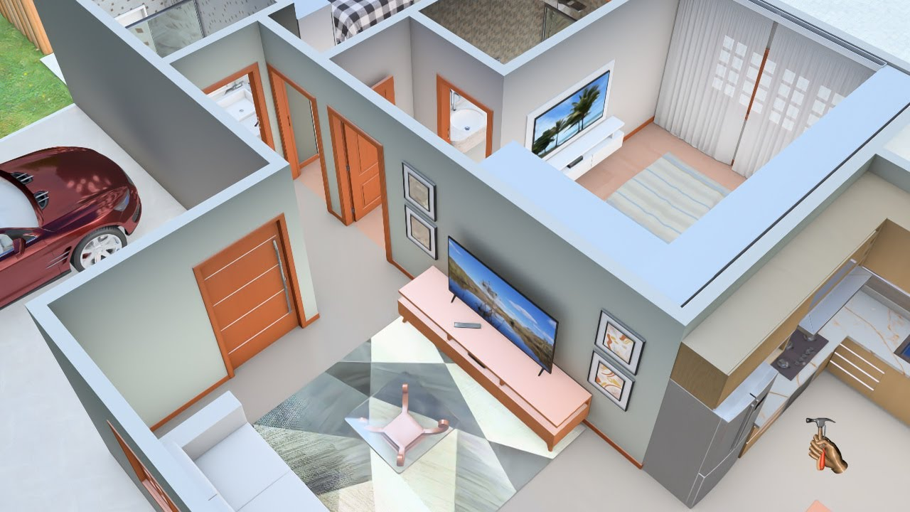 Planta 3D para Casa de Campo com dois Quartos  e Cozinha americana