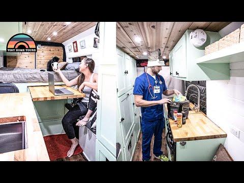 Couple Builds DIY Camper Van To Escape Rent Prices & Make A Traveling Nurse Job More Accessible