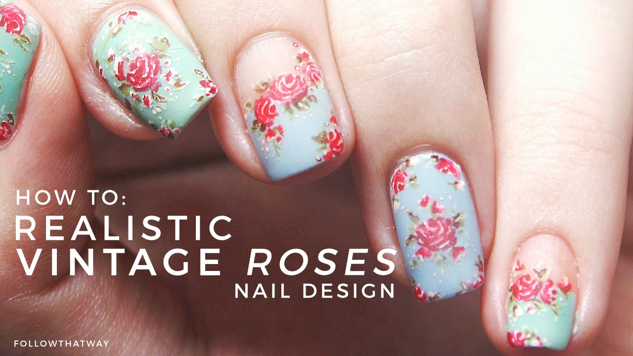 How To: Realistic Vintage Rose Floral Nail Art Tutorial (HAND PAINTED) ✿ |  Annabel Lee - YouTube - How To: Realistic Vintage Rose Floral Nail Art Tutorial (HAND