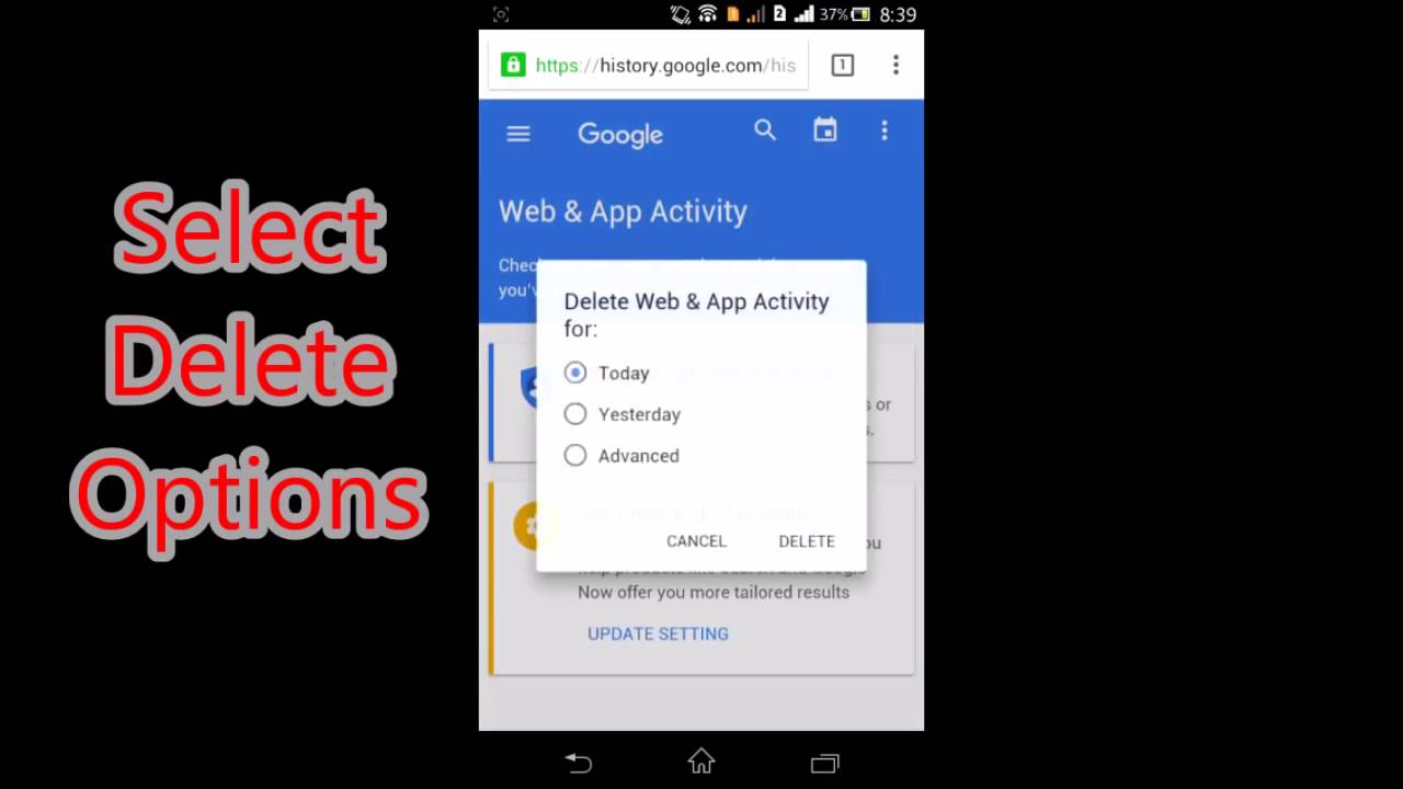 How To Delete All Google Search History On Android Phone