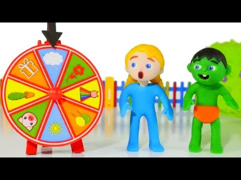 FUNNY KIDS & THE WHEEL OF FORTUNE ❤ Play Doh Cartoons For Kids