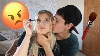 ANNOYING MY GIRLFRIEND WHILE SHE DOES HER MAKEUP PRANK!!