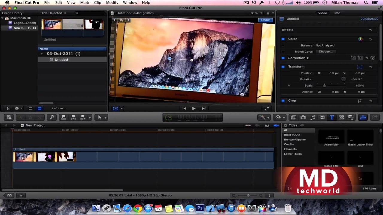 How to rotate videos using final cut pro x youtube how to rotate videos using final cut pro x ccuart Gallery