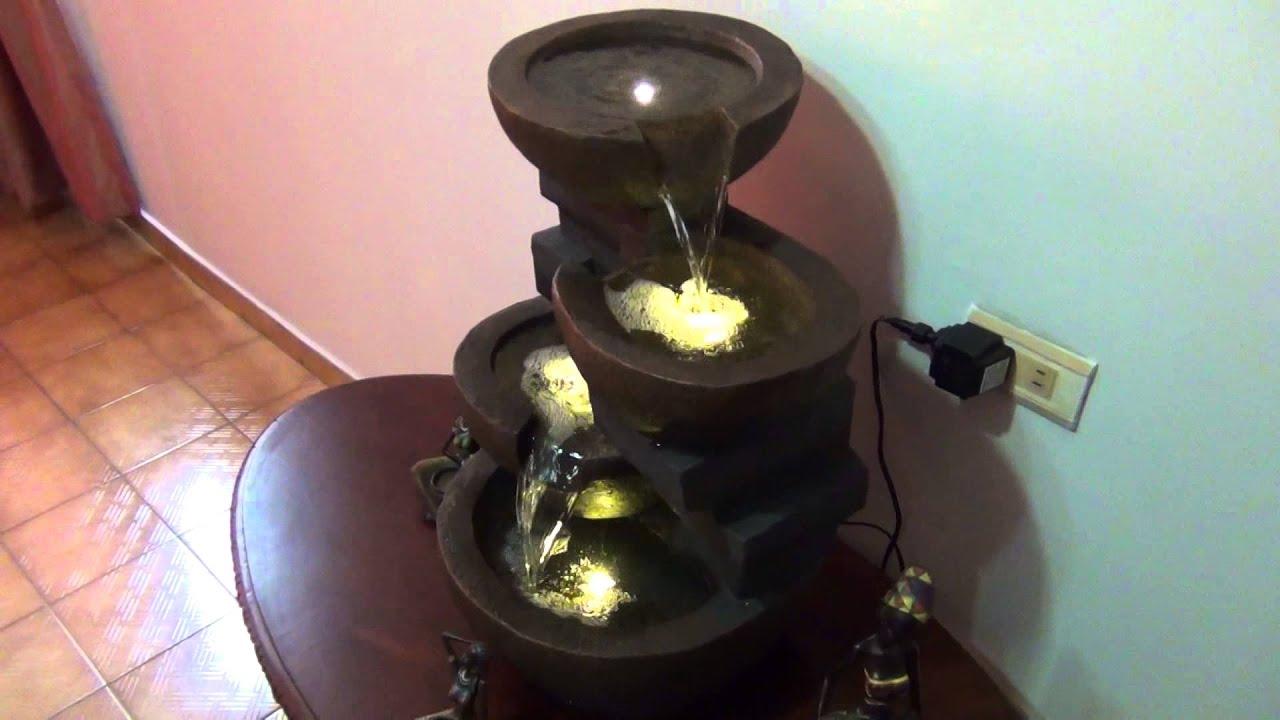 Fuente de agua cascada con luces led poliresina fibra - Motor de fuente de agua ...
