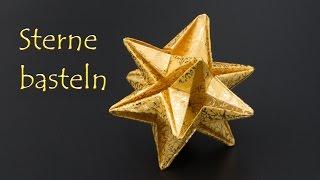 Sterne basteln zu Weihnachten: einfache 3D Origami Sterne falten - DIY