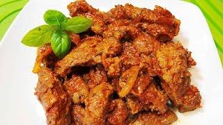 Нежнейшая ГОВЯЖЬЯ ПЕЧЕНЬ. Тушеная Печень.  Секреты приготовления.   How to Cook Beef Liver/