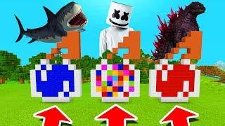 Minecraft PE : DO NOT CHOOSE THE WRONG SPLASH POTION! (Shark, Marshmello & Godzilla)