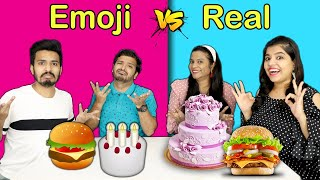 EMOJI VS REAL FOOD CHALLENGE | HUNGRY BIRDS FUNNY CHALLENGE