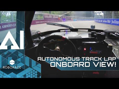 Self-driving race car DevBot's full autonomous lap around Formula E Rome