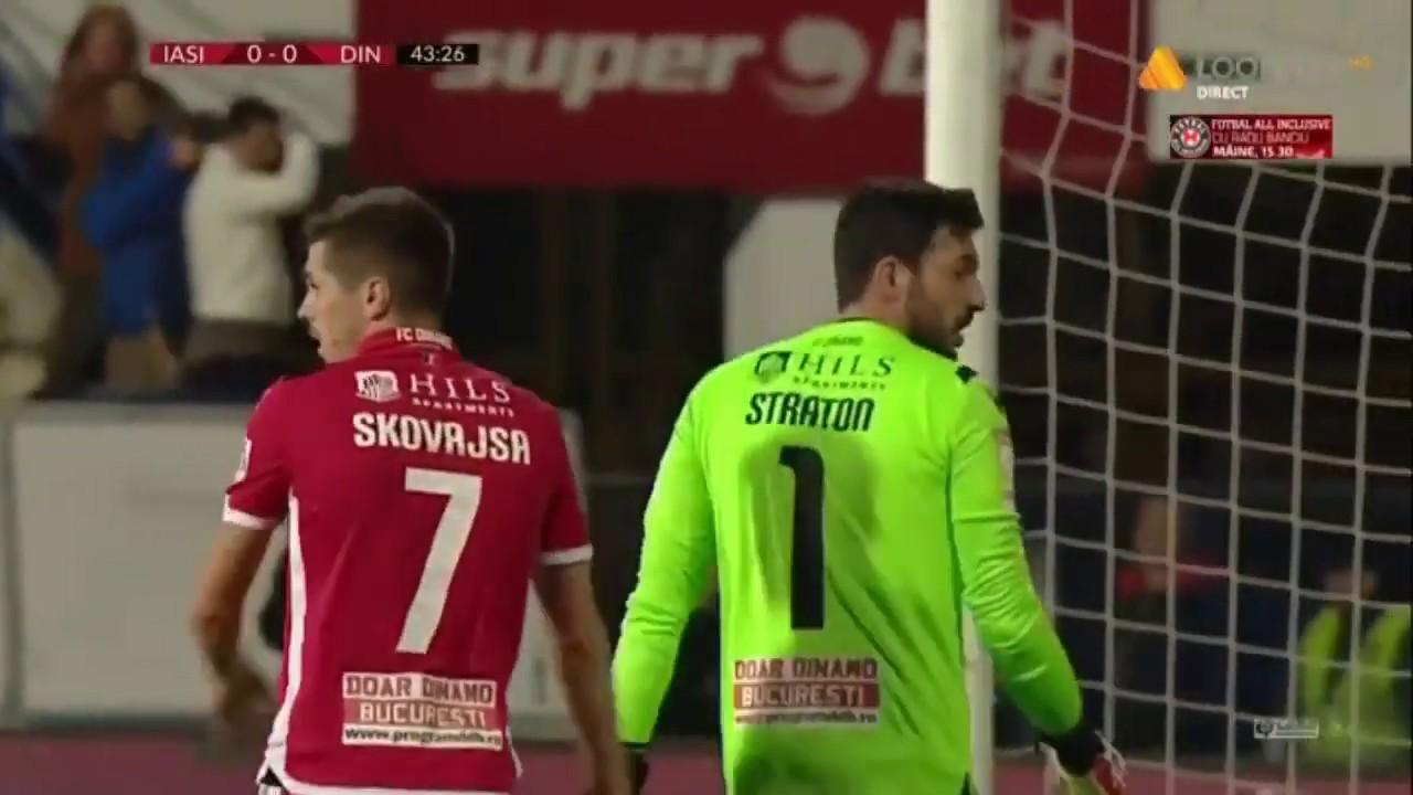Straton respinge cu dificultate sutul lui Andrei Cristea! Poli Iasi - Dinamo
