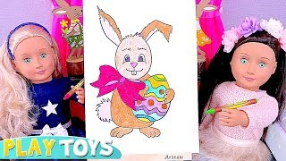 Learn How to Draw Easter Bunny Rabbit with Our Generation Dolls Playing in the Dollhouse! 🎀