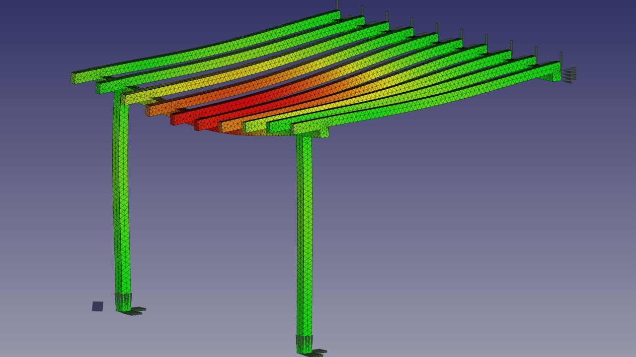 FreeCAD FEM Tutorial self weight analysis of a carport