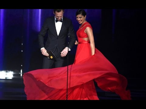 Priyanka Chopra & Tom Hiddleston (Taylor Swift's boyfriend) presenting at The 68th Emmys 2016