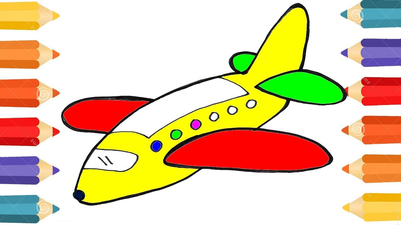 Airplane Coloring Pages - Drawing for Children | Colouring Video ...