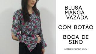 Blusa manga longa sino (flare) com abertura e botão – Modelagem e Costura