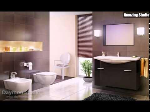 Moderne Badezimmer mit braunen Fliesen