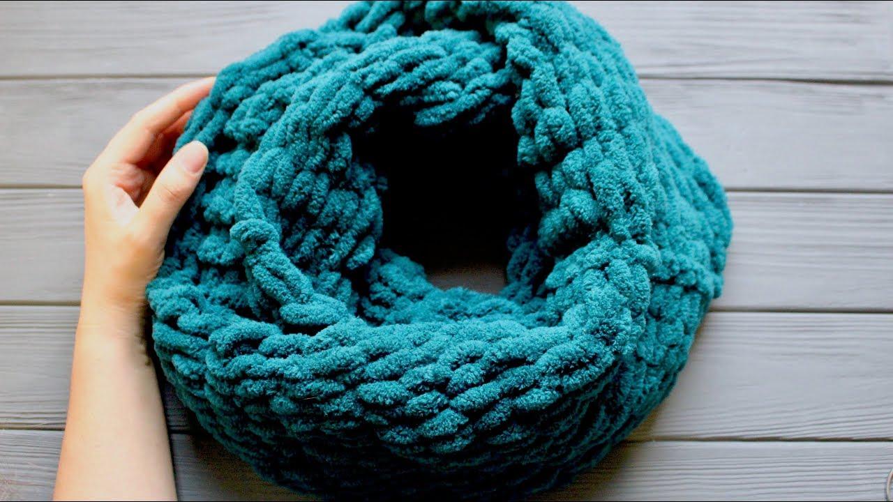 шарф снуд пуффи вяжем без спиц и крючка плюшевый шарф снуд в два