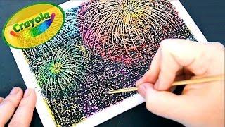 How to paint Fireworks with crayons | Cómo pintar fuegos artificiales con crayones | Scratch art