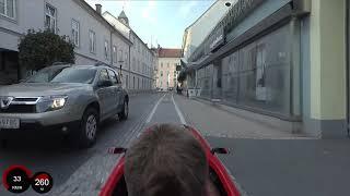 Stadtdurchfahrt Leibnitz mit dem Velomobil DF XL am 12.10.2018