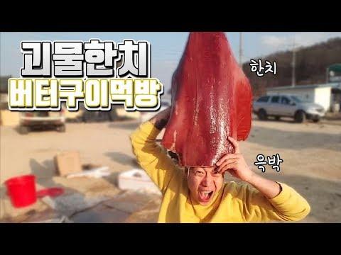 오징어 한 마리가 13kg 버터구이 성공 먹방