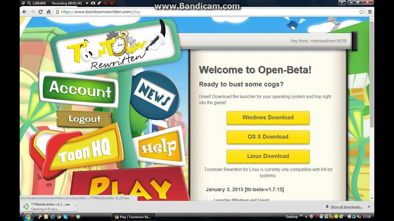 How to download toontown rewritten for linux, osx and windows.