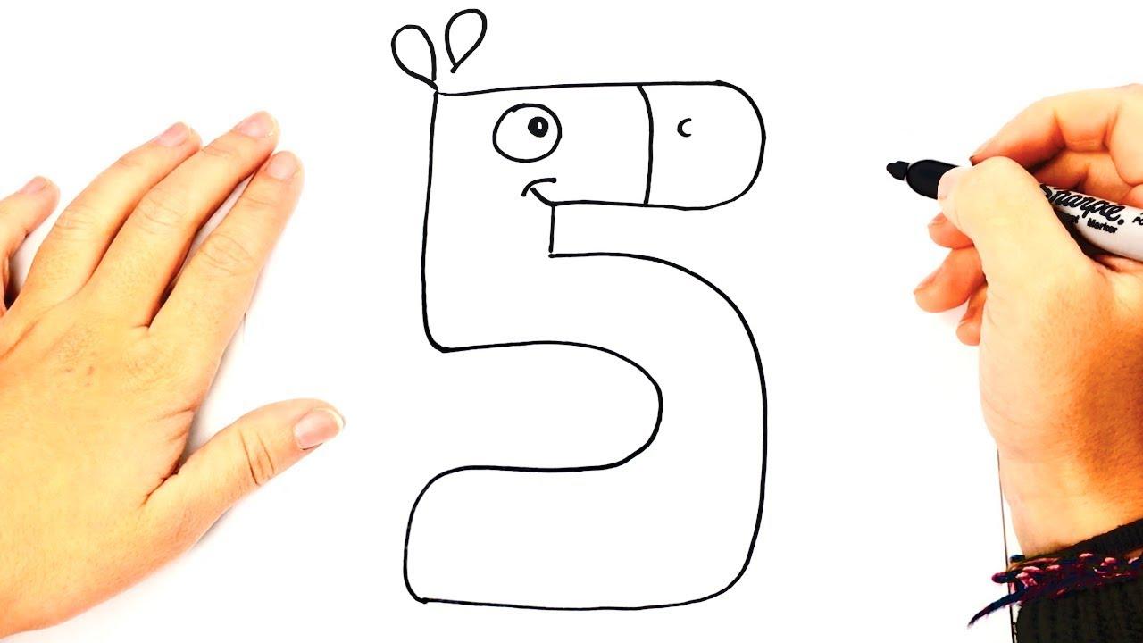 Como dibujar el Numero 5 | Aprender los Números dibujando - YouTube