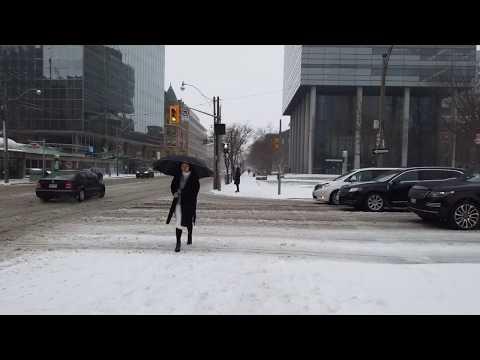 Toronto Miserable Weather Walk - Through A Mixed Bag Of Snow, Freezing Rain, Slush, & Sleet - 4K
