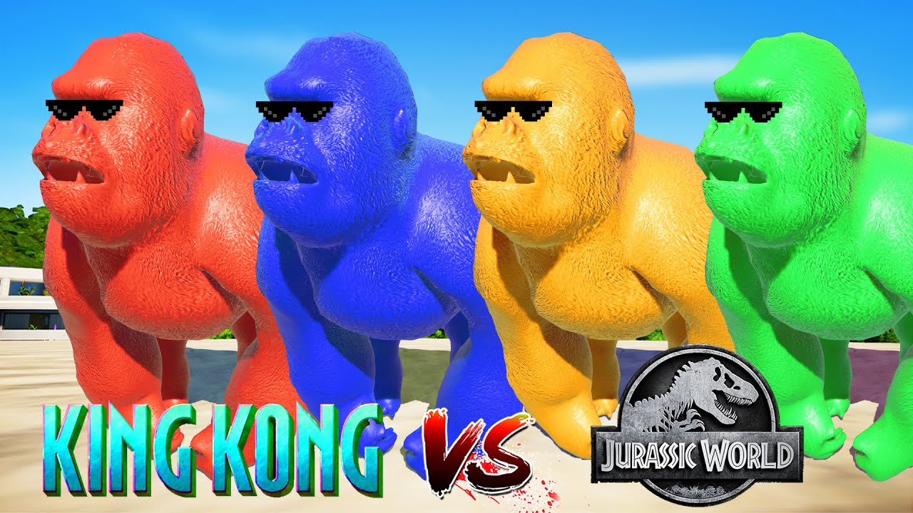 (Jurassic World Evolution🌍)Colorful King Kong Dinosaurs Fight
