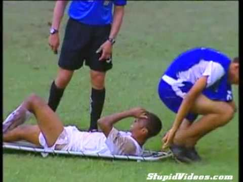 Soccer Helper Sits On Player Face