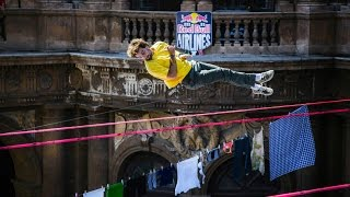 Slackline Tricks above the Streets of Italy - Red Bull Airlines 2014