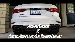 Audi RS3 VS Audi S3, Audi S4 & 2 Alfa Romeo's Exhaust Comparison
