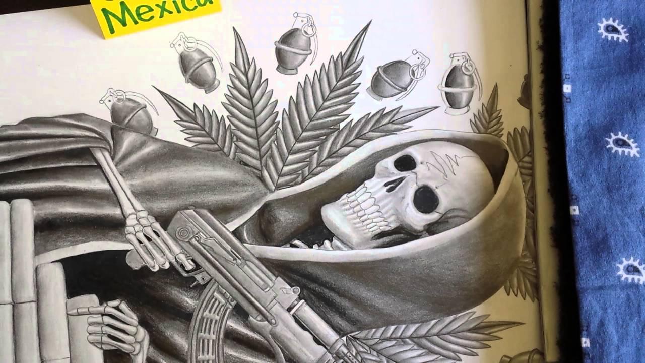 Como dibujar La Flaca Santisima Muerte con granadas, polvo y cuerno ...
