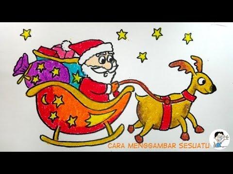 How To Draw Santa Flying With Reindeer Menggambar Santa Terbang