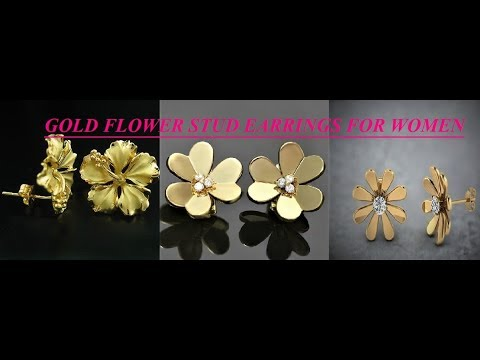LATEST LIGHT WEIGHT GOLD FLOWER STUD EARRINGS FOR WOMEN, STUD/TOPS EARRINGS COLLECTION,GOLD JEWELRY