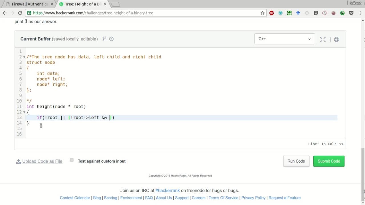 HackerRank | Height of a Binary tree Solution