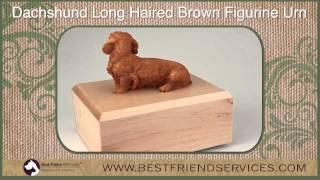 Brown Long Haired Dachshund Figurine Pet Urn