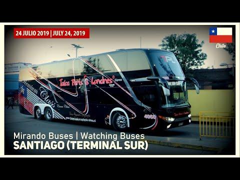 Mirando Buses En Terminal Sur De Santiago De Chile - 24 Julio 2019
