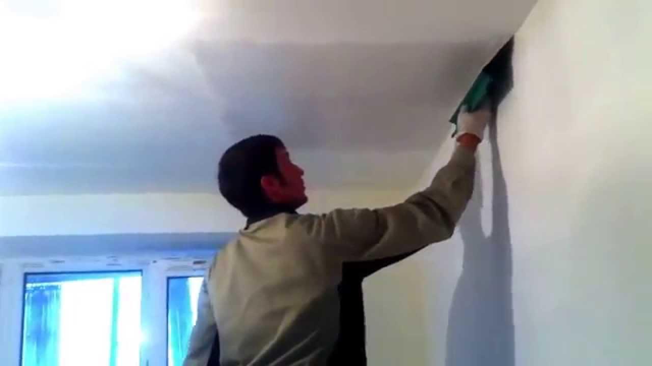 Шпаклевка потолка шпателем Sheetrock - YouTube