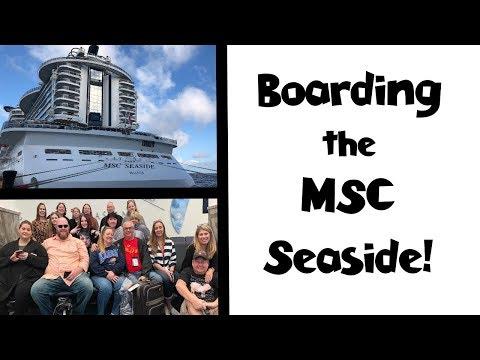 Boarding the MSC Seaside Cruise Ship + Lunch + Cabin!!  Sea Cruisers Group Cruise Vlog [ep2]