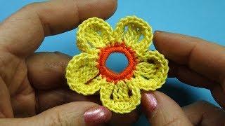 Объемный цветок крючком Crochet flower 96
