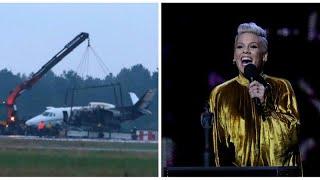شاهد: تحطم طائرة تقل فرقة المغنية الأمريكية بينك في مطار دنماركي…