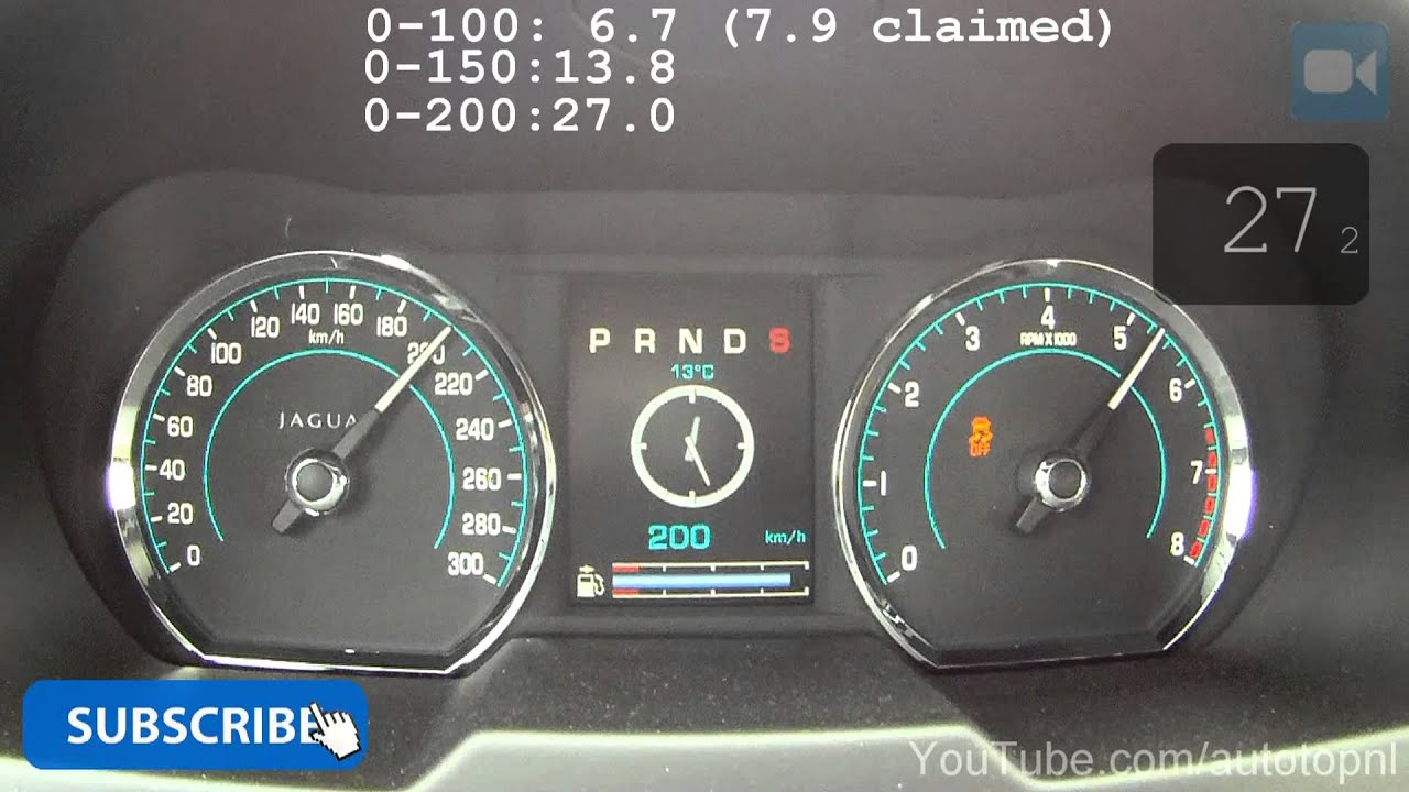 240 HP Jaguar XF 2.0T 0-203 km/h GREAT! Acceleration Test Autobahn ...