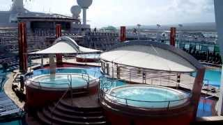 exploring the outside deck of freedom of the seas kids h20 zone movie screen and walking trail
