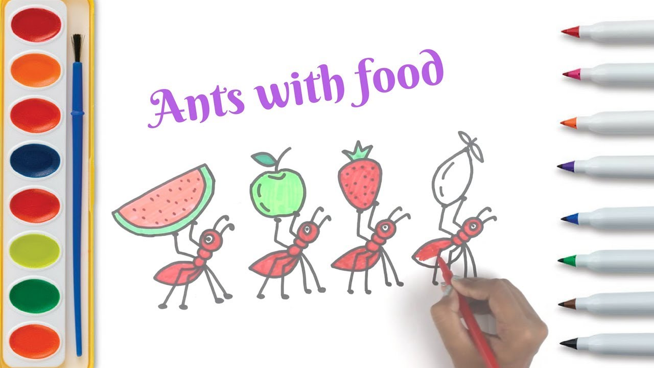 Ant carrying Food   animal art for kids  coloring page for child ...
