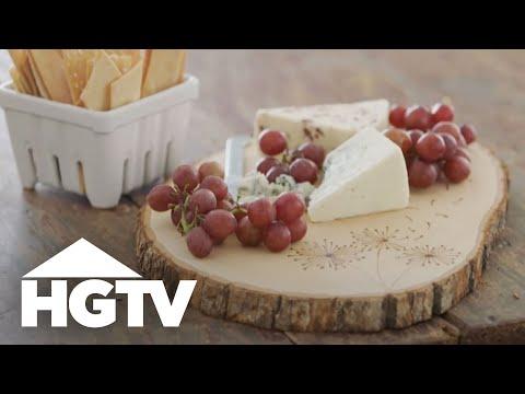DIY Wood Burned Cheese Board - HGTV Happy